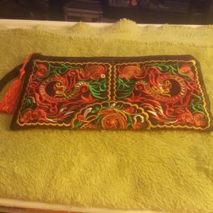 BRIGHTLY EMBROIDERED WRISTLET:11 1/2x5 1/2